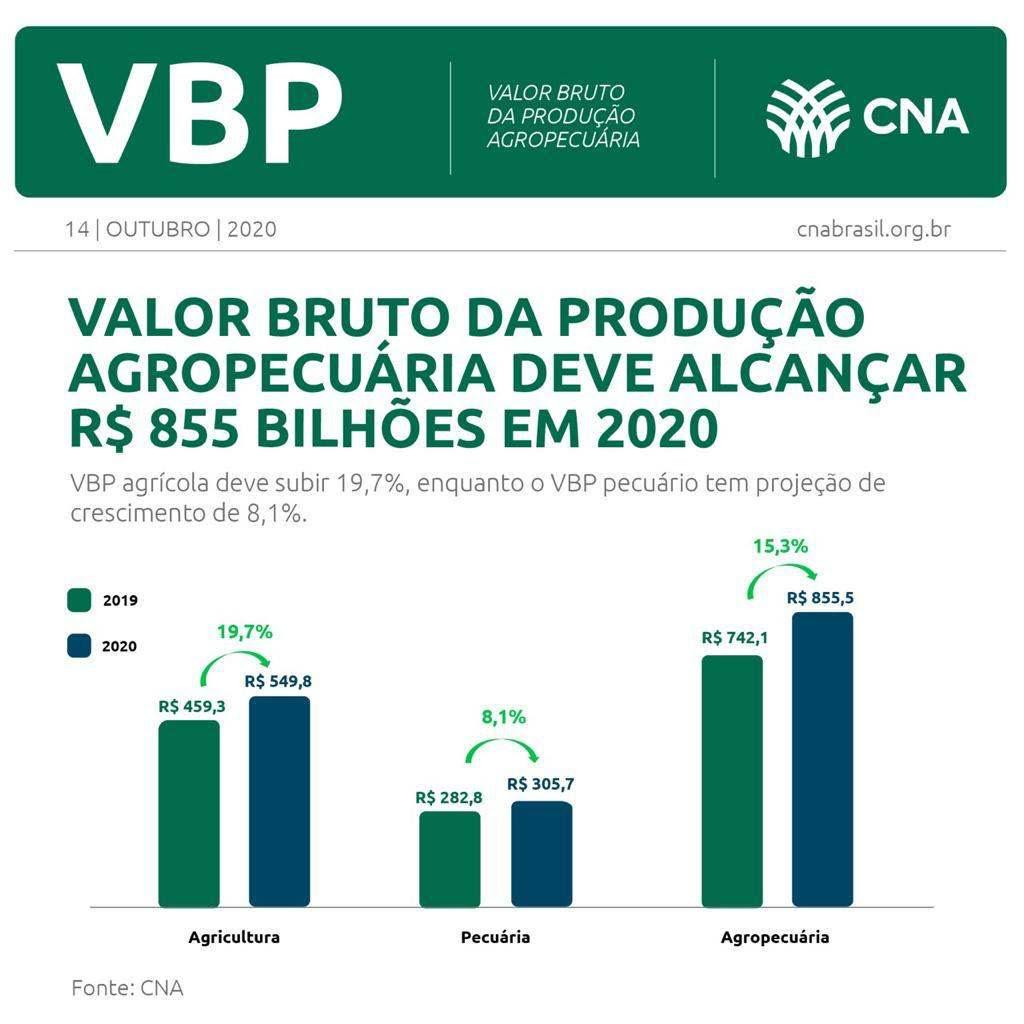Valor Bruto da Produção Agropecuária (VBP) deve subir 15% em 2020