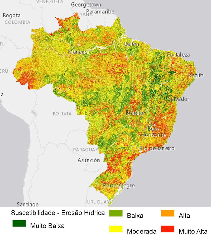 mapa da suscetibilidade dos solos à erosão hídrica do Brasil expressa a sensibilidade dos solos à erosão