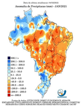 mapa de chuvas de janeiro