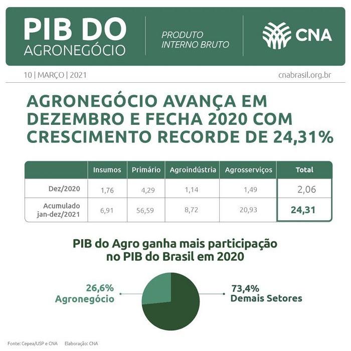 PIB do agronegócio em 2020 bate recorde e cresce 25%