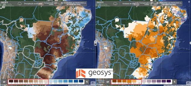 Precipitação acumulada em relação à média dos últimos 10 anos (esquerda) e umidade do solo em relação à média dos últimos 10 anos (direita).