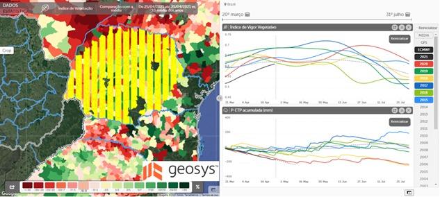Figura 2. Índice do vigor vegetativo (NDVI) e balanço hídrico (diferença entre a Precipitação – Evapotranspiração) no Paraná (área em amarelo no mapa), considerando o início no dia 20 de março. Fonte: Geosys – AgriQuest tool