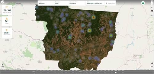 Figura 2. Tela do Dashboard com mapa de calor de alertas (maior pressão de desmatamento) entre 04/01 e 03/02/2021