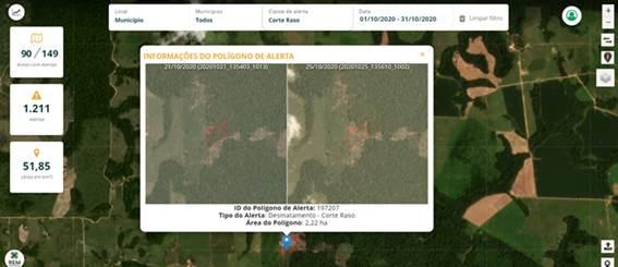 Figura 4. Visualização da imagem de antes e depois de uma ocorrência de remoção da vegetação nativa.
