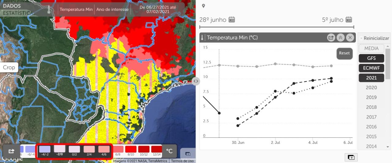 Previsão da temperatura mínima para o Centro-Sul do Brasil / Fonte: Geosys Brasil