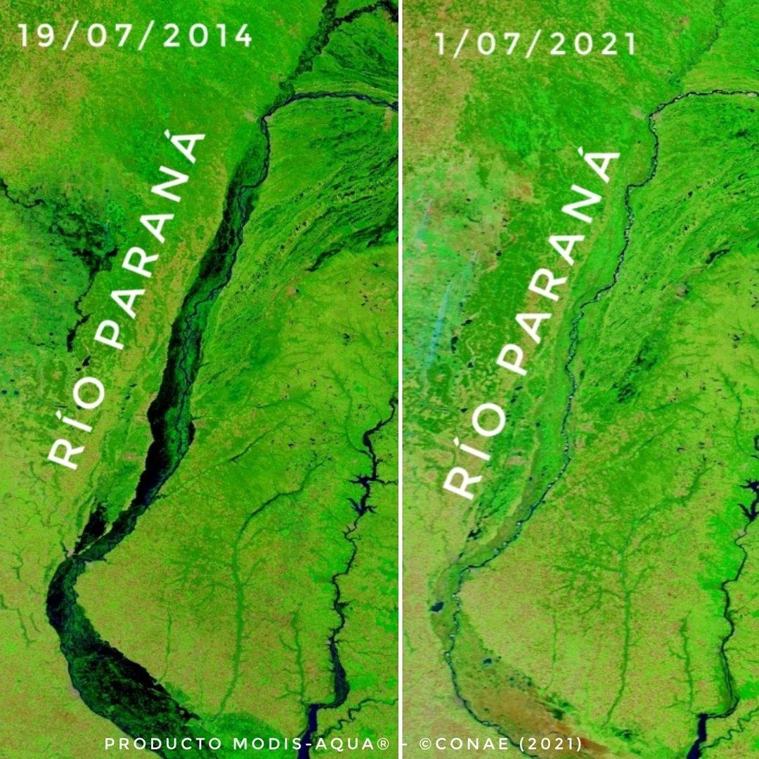 Comparação do rio Paraná em 2014 e 2021. Imagem: Conae