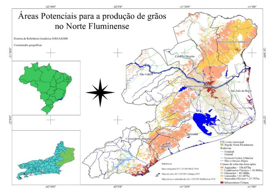 Soja e Grãos Norte Fluminense mapa áreas potenciais